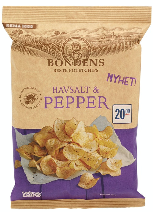 Sørlandschips Bondens Beste Havsalt & Pepper 200 g