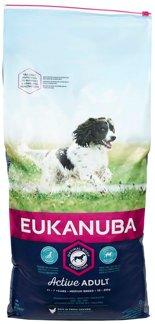 Eukanuba Active Adult Medium Breed Rich In Fresh Chicken, 12 kg