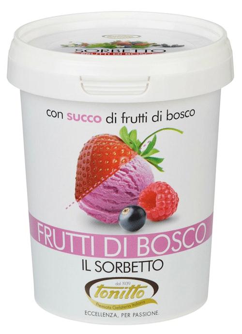 Tonitto Sorbetto Frutti di Busco Jordbær, Bringebær & Solbær, 0,5 l