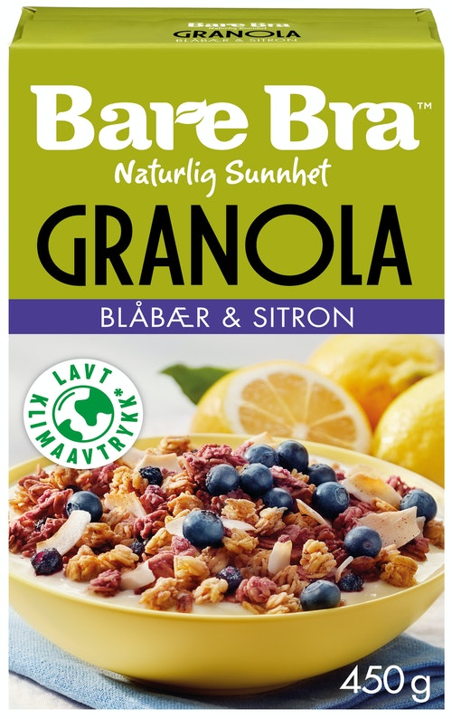 Bare Bra Blåbær & Sitron Granola 450 g