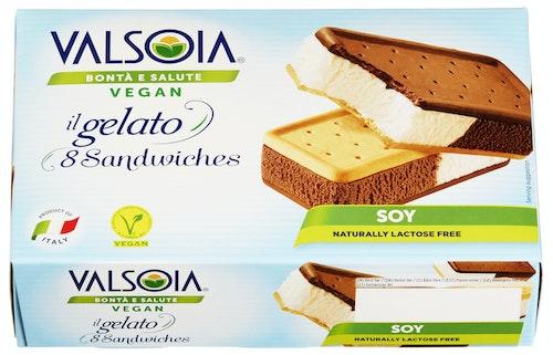 Valsoia Gelato Sandwich Melkefri, 8 stk, 320 g