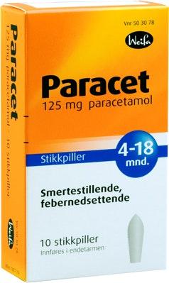 Weifa Paracet Stikkpille 4-18 mnd, 125mg, 10 stk