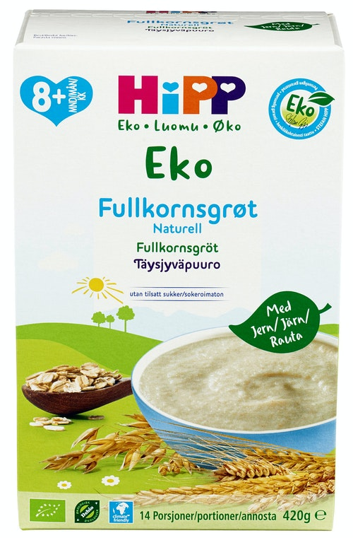 Hipp Fullkornsgrøt nøytral 8 mnd økologisk, 420 g