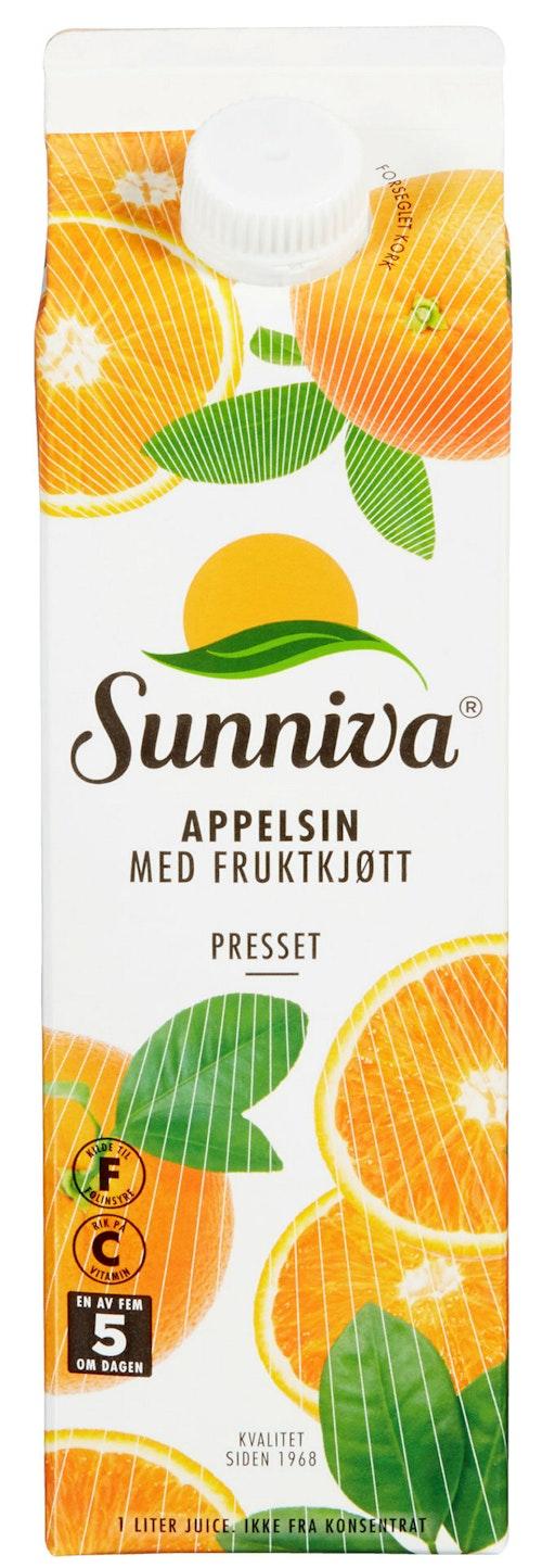 Sunniva Premium Appelsinjuice Med fruktkjøtt, 1 l