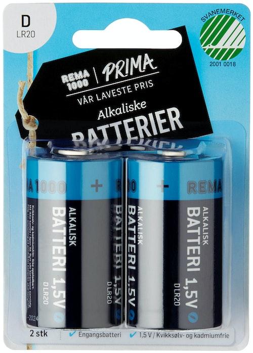 Prima Batterier DLR 20 1,5V Alkaliske, 2 stk