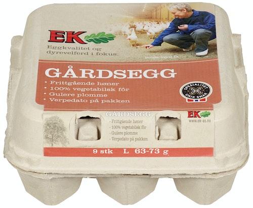 Ek Gårdskjøkken Store Egg Fra Frittgående Høner Str L, 9 stk