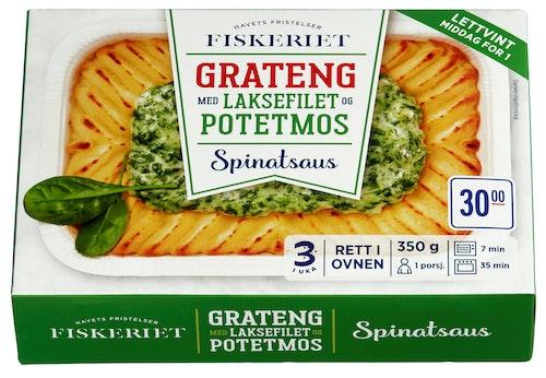 Grateng med laksfilet i spinatsaus Middag for 1 person, 350 g