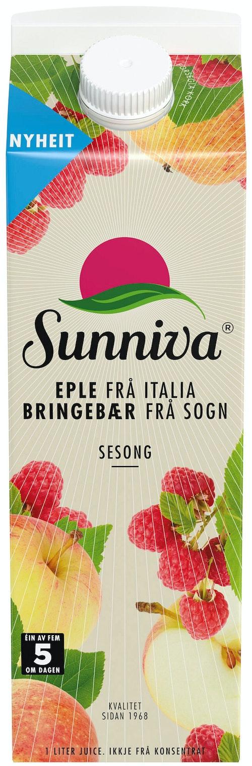 Sunniva Presset Eple & Bringebær juice 1 l