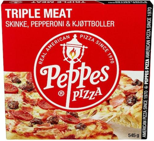 Peppes Pizza Peppes Triple Meat Skinke,Pepperoni & Kjøttboller, 545 g