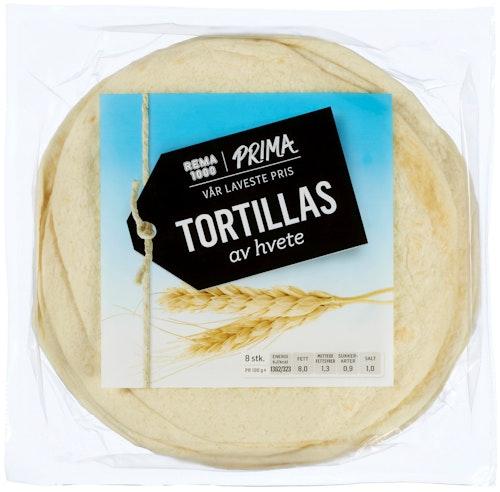 Prima Tortillas Hvete 8 stk ca 20 cm