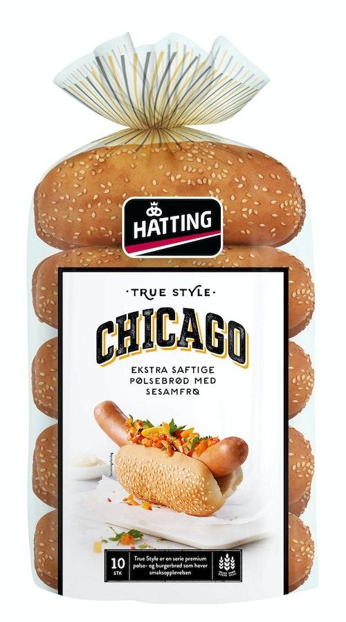 Hatting Chicago Pølsebrød 10 stk, 500 g