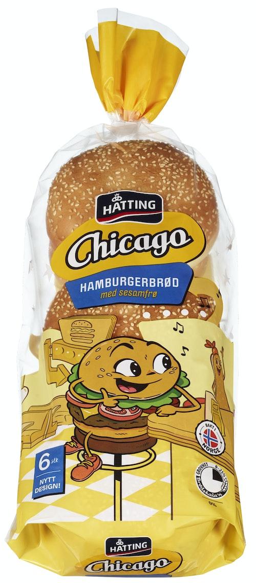 Hatting Chicago Hamburgerbrød 6 stk, 480 g