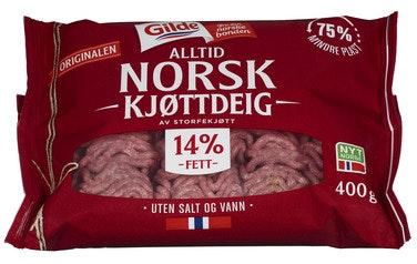 Gilde Kjøttdeig av Storfe 14% u/salt og vann, 400 g
