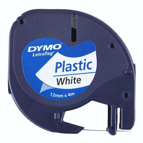 Dymo Tekstbånd til Dymo i plast Hvit, 12mm, 1 stk