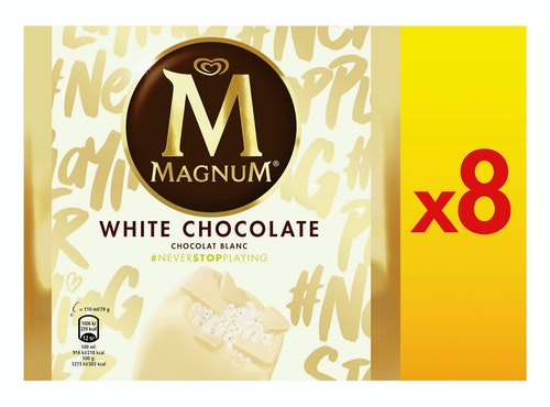 Magnum Magnum White Chocolate Iskrem 8 x 110ml, 880 ml