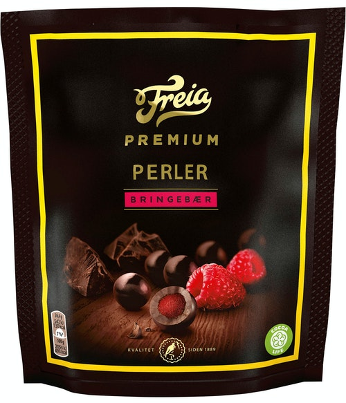 Freia Premium Perler Bringebær 120 g