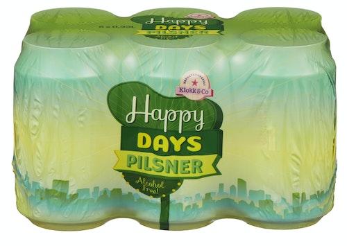 Klokk & Co Happy Days Alkoholfri Pils 6 x 0,33l, 1,98 l