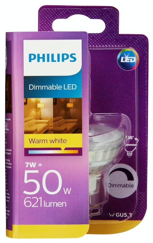 Philips Lyspære Led 50w, Gu5.3 Spot Varmhvit Dim, 1 stk