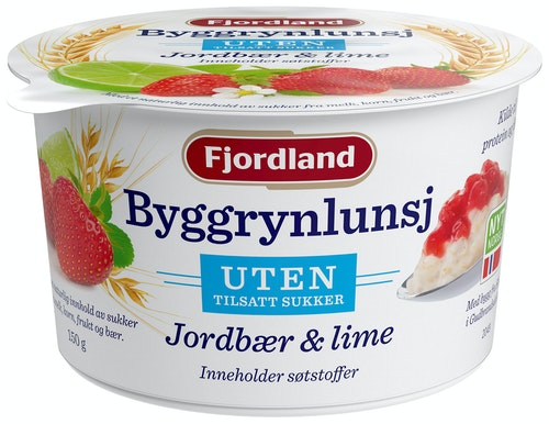 Fjordland Byggrynslunsj UTEN Med Jordbær & Lime, 150 g