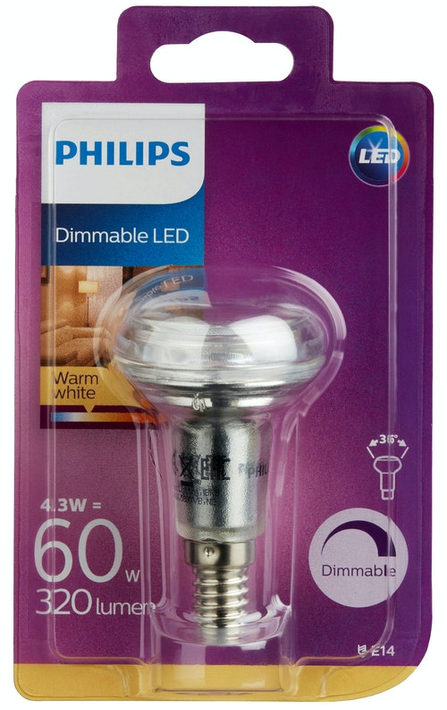 Philips Lyspære Led Reflektor R50, 60w, E14 Varmhvit 36d Dim, 1 stk