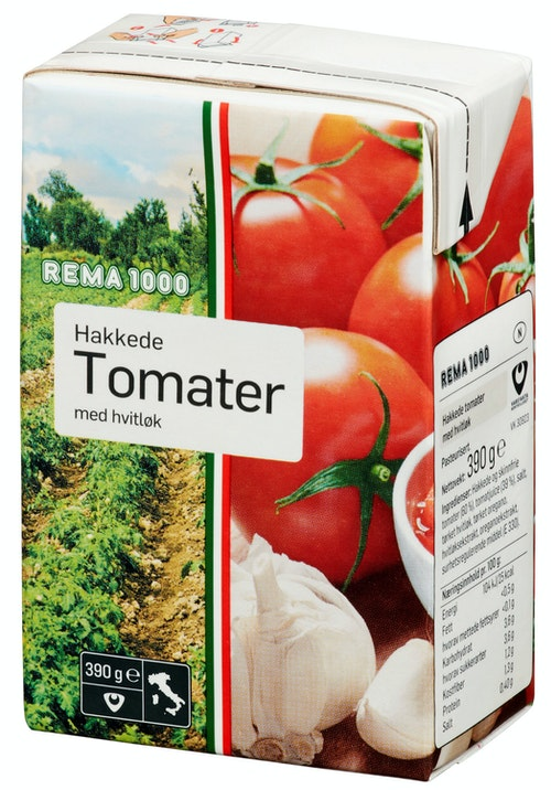 REMA 1000 Hakkede Tomater Hvitløk 390 g