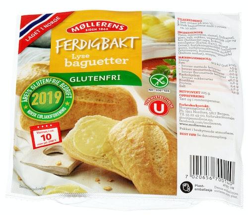 Møllerens Ferdigbakt Lyse Baguetter Glutenfri 225 g