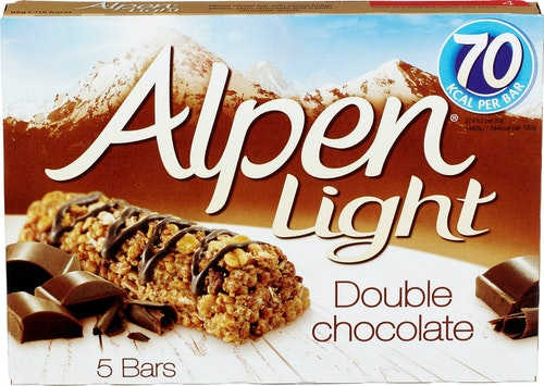 Alpen Alpen Bars Light Double Chocolate, 5 stk, 95 g