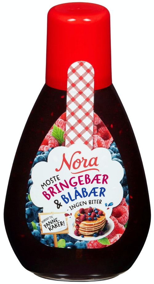 Nora Bringebær & Blåbærsyltetøy Squeezy, 420 g