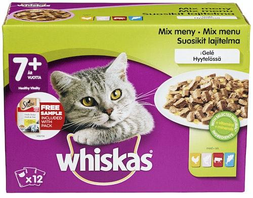 Whiskas Fisk & Kjøtt i Gele 7+ 12x100g, 1,2 kg