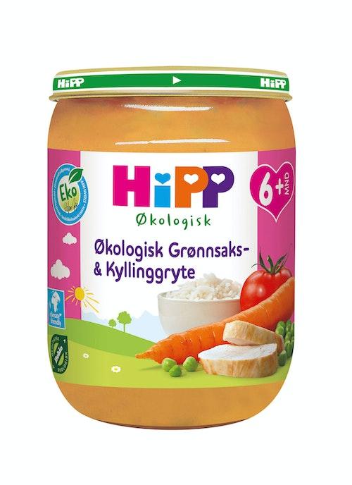 Hipp Grønnsaks- & Kyllinggryte Økologisk, fra 6 mnd, 190 g