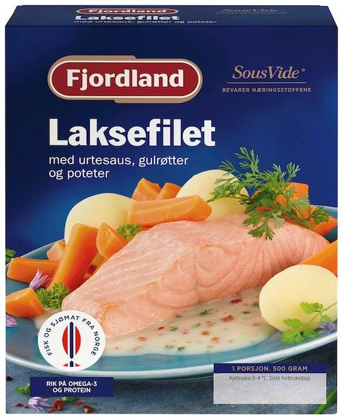 Fjordland Kokt Laks med Urtesaus, Gulrot & Poteter 500 g