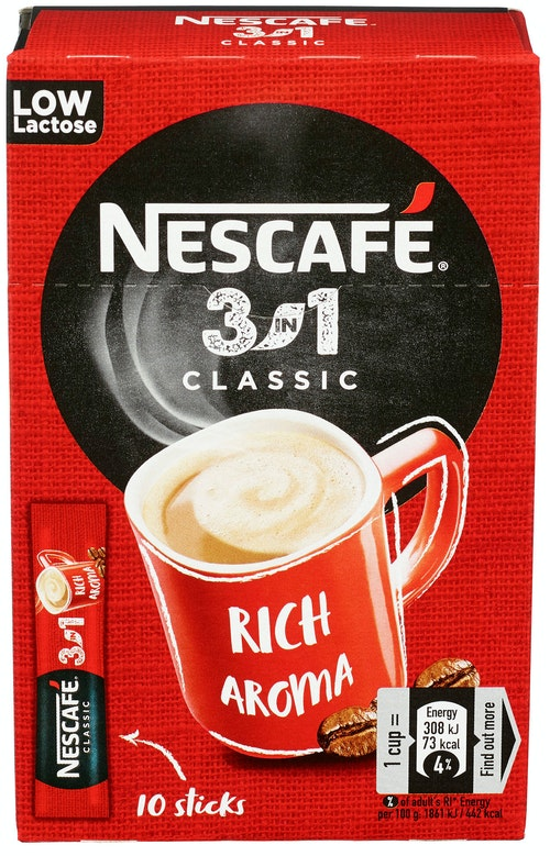 Nescafé Nescafe 3 in1 10 stk, 165 g