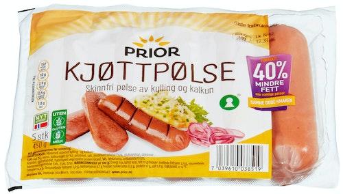 Prior Røkt Kjøttpølse Av Kylling & Kalkun Skinnfri, 450 g
