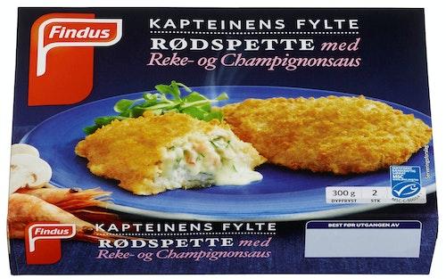 Findus Kapteinens Fylte Rødspette Med Reke- og Champignonsaus, 300 g