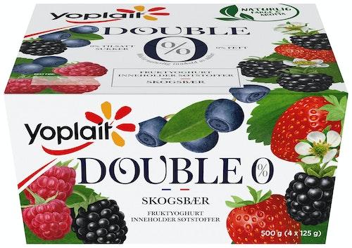 Fjordland Yoplait Double 00% Skogsbær 4x125g, 500 g
