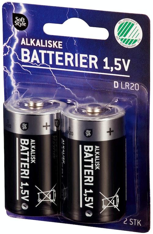 Soft Style Batterier 1,5v D Alkaliske, 2 stk