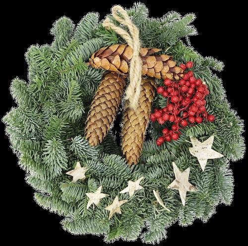 FreshFlowers Julekrans tradisjonelt pyntet ø30cm, 1 stk