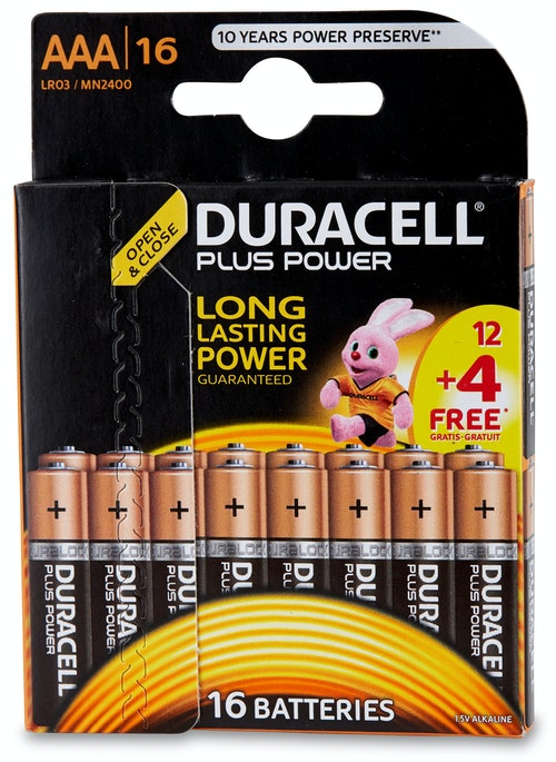 Duracell Batteri AAA Plus Power 16 stk