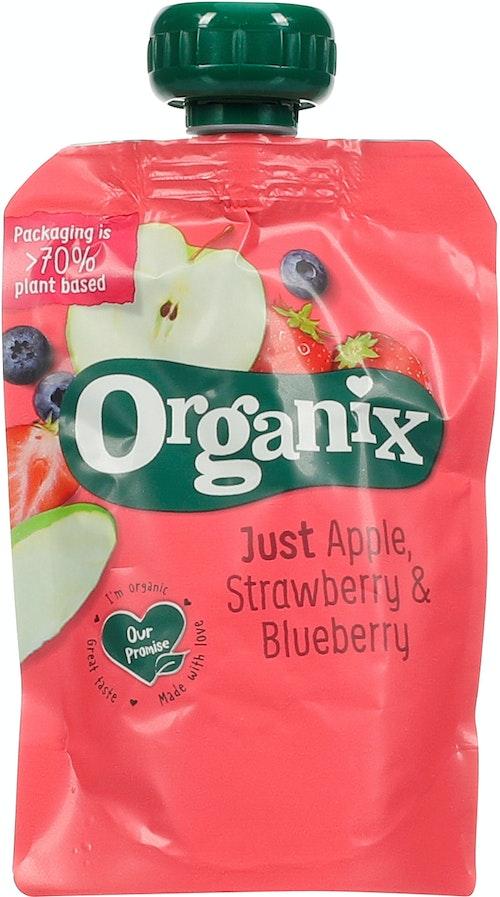 Organix Just Apple Strawberry & Blueberry 6 mnd, 100 g