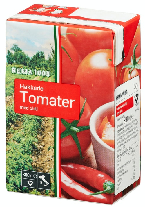 REMA 1000 Hakkede Tomater Med Chilli 390 g