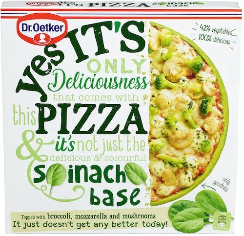 Dr. Oetker Yes it's pizza - Med Brokkoli, Mozzarella og Sopp Pizzabunn med Spinat, 335 g