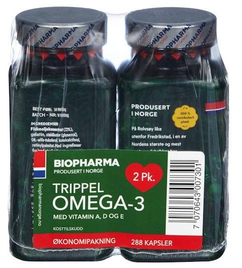 Biopharma Trippel Omega-3 2 pk, 288 stk