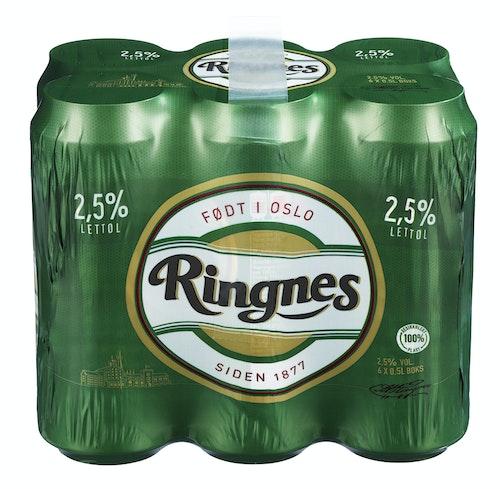 Ringnes Ringnes Lettøl 6 x 0,5l, 3 l