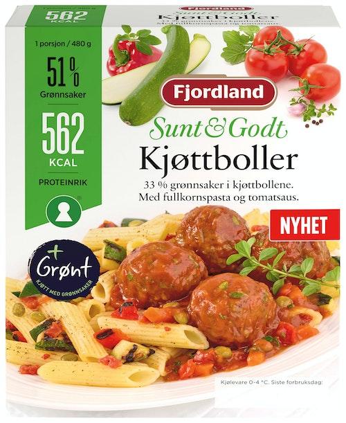 Sunt & Godt Kjøttboller i Tomatsaus med Fullkornpasta, 480 g