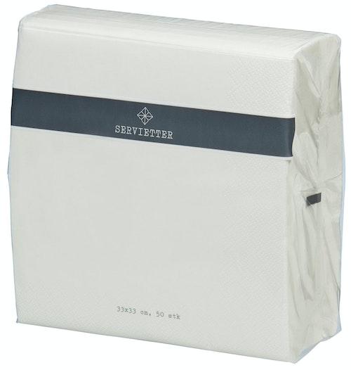 Servietter Hvit 33 cm, 50 stk