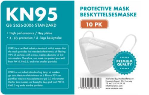 Ansiktsmaske KN95 Egenbeskyttelse, 4 lag, 10 stk