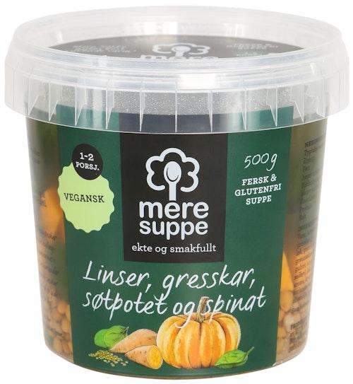 Mere Suppe Suppe med Linser, Søtpotet, Gresskar og Spinat 500 g