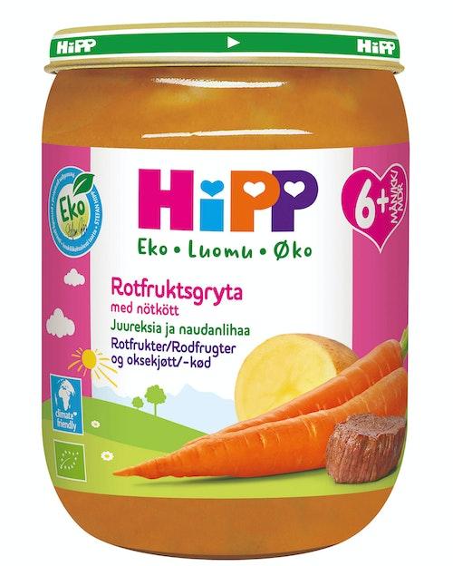 Hipp Rotfrukter med Oksjekjøtt Fra 6 mnd, 190 g