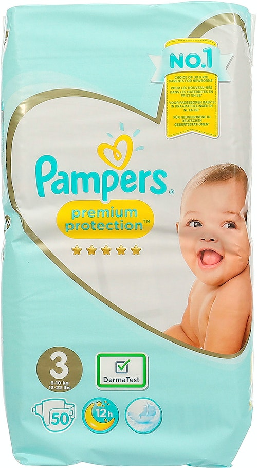 Pampers Bleie premium protection Str.3 6-10kg, 50 stk