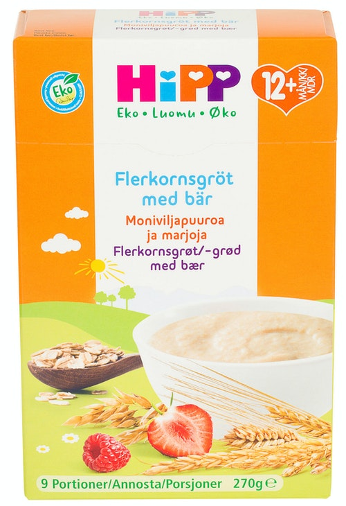 Hipp Flerkornsgrøt med Bær Fra 12 mnd, 270 g
